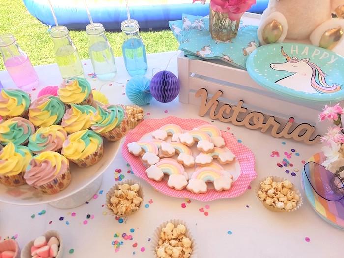 Unicorn dessert tabletop from a Summer Unicorn Birthday Party on Kara's Party Ideas | KarasPartyIdeas.com (13)