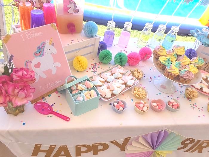 Unicorn dessert table from a Summer Unicorn Birthday Party on Kara's Party Ideas | KarasPartyIdeas.com (12)