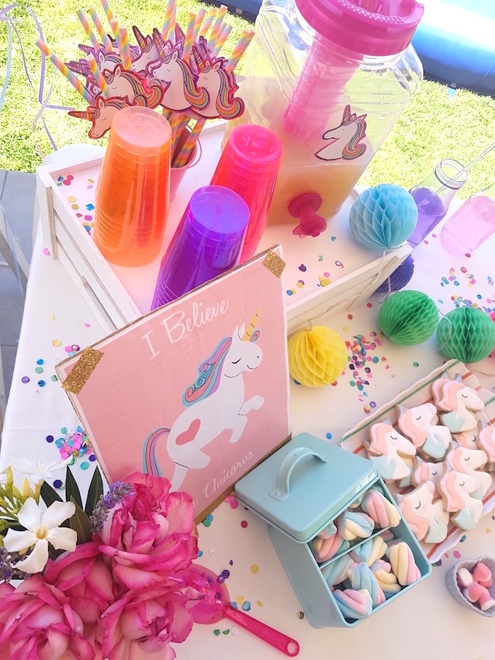 Beverage dispenser, neon cups and unicorn straws from a Summer Unicorn Birthday Party on Kara's Party Ideas | KarasPartyIdeas.com (11)
