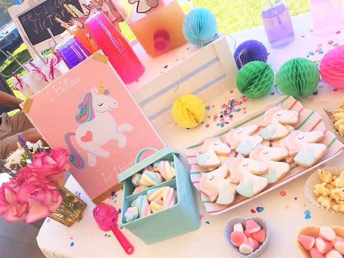 Rainbow marshmallow puffs & unicorn cookies from a Summer Unicorn Birthday Party on Kara's Party Ideas | KarasPartyIdeas.com (10)