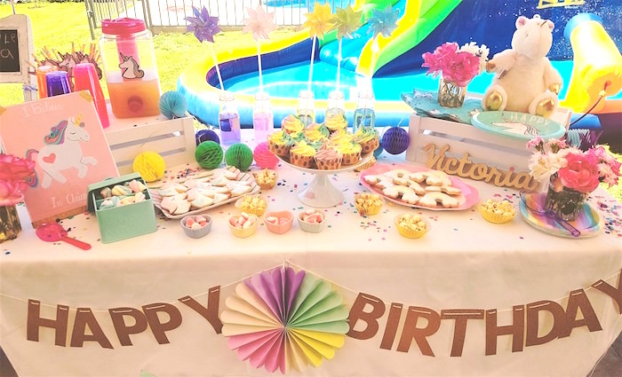 Dessert table from a Summer Unicorn Birthday Party on Kara's Party Ideas | KarasPartyIdeas.com (9)