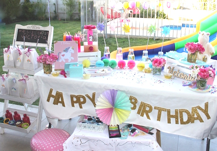 Unicorn party table from a Summer Unicorn Birthday Party on Kara's Party Ideas | KarasPartyIdeas.com (8)