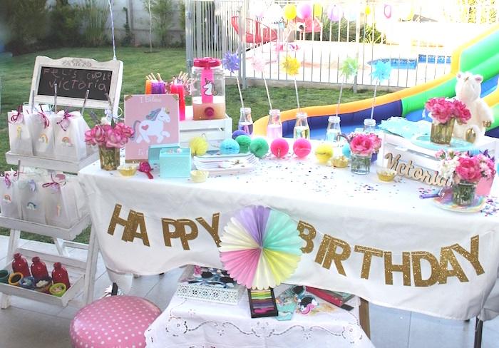 Unicorn party table from a Summer Unicorn Birthday Party on Kara's Party Ideas | KarasPartyIdeas.com (8)