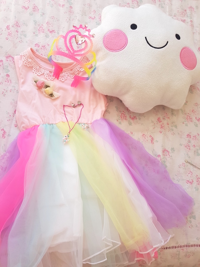 Rainbow dress from a Summer Unicorn Birthday Party on Kara's Party Ideas | KarasPartyIdeas.com (22)