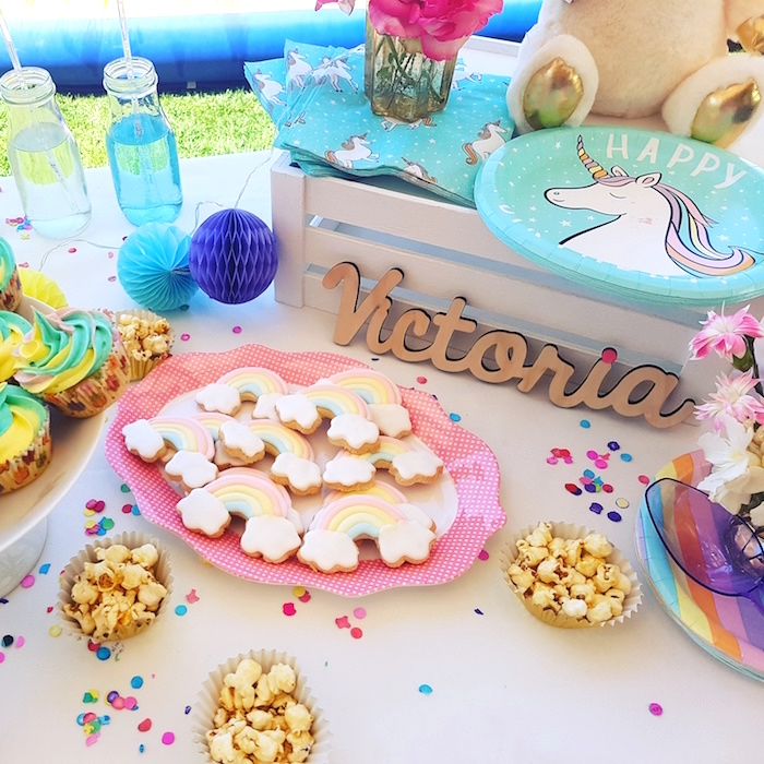 Rainbow cookies from a Summer Unicorn Birthday Party on Kara's Party Ideas | KarasPartyIdeas.com (20)
