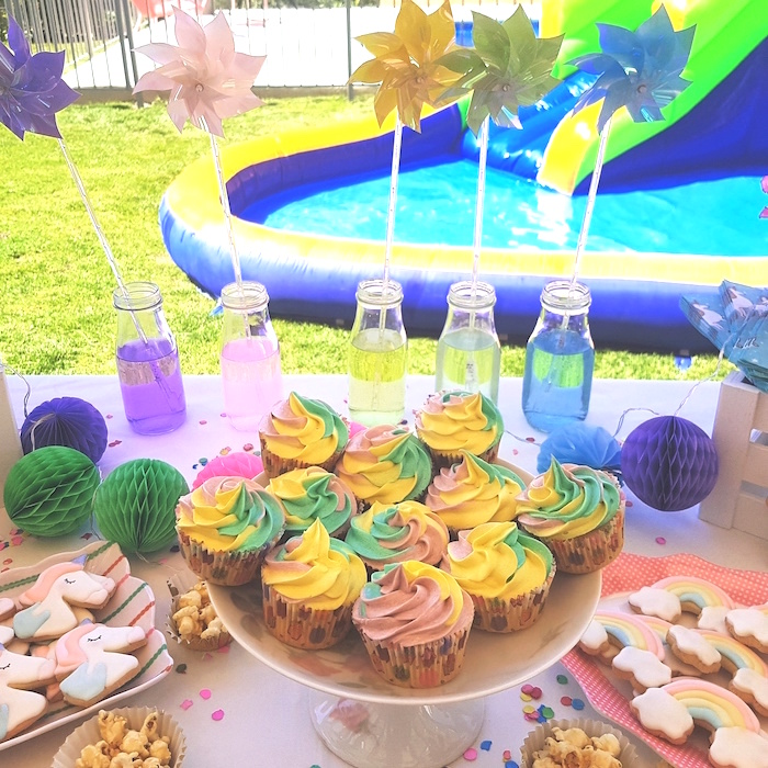 Rainbow cupcakes from a Summer Unicorn Birthday Party on Kara's Party Ideas | KarasPartyIdeas.com (19)