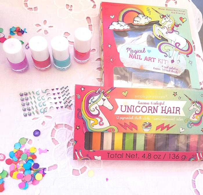 Unicorn hair and nail supplies from a Summer Unicorn Birthday Party on Kara's Party Ideas | KarasPartyIdeas.com (16)