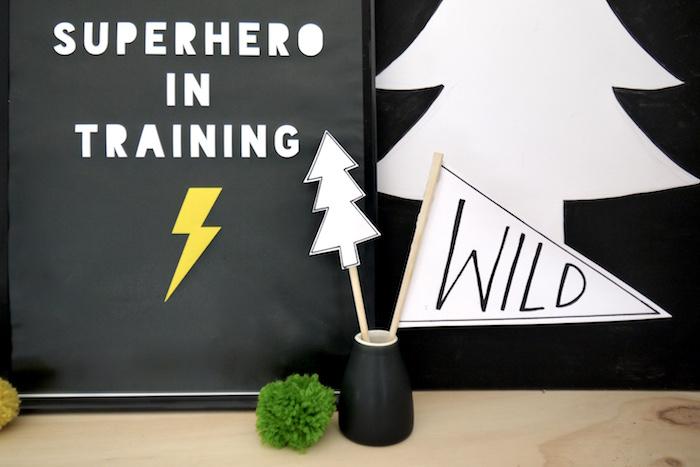 Paper signage + decor from a Superhero Bear Birthday Party on Kara's Party Ideas | KarasPartyIdeas.com (20)