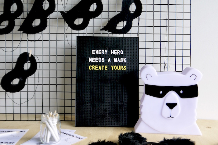 Mask station from a Superhero Bear Birthday Party on Kara's Party Ideas | KarasPartyIdeas.com (16)