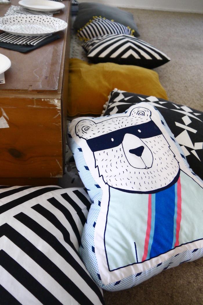Bear Pillow + guest table seating from a Superhero Bear Birthday Party on Kara's Party Ideas | KarasPartyIdeas.com (10)