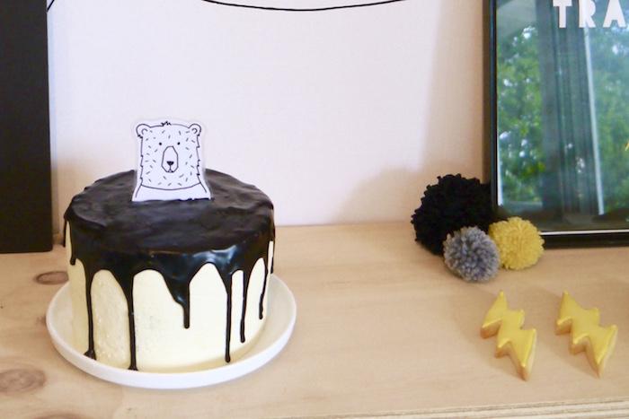 Monochromatic drip cake from a Superhero Bear Birthday Party on Kara's Party Ideas | KarasPartyIdeas.com (25)