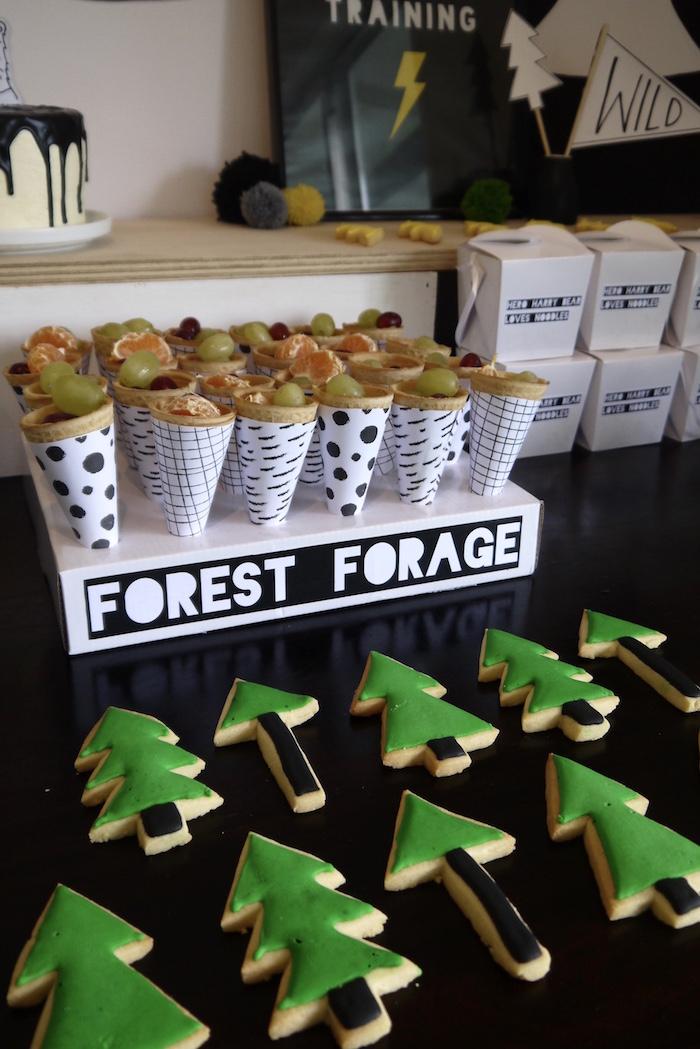 Forest + Pine Tree sugar cookies from a Superhero Bear Birthday Party on Kara's Party Ideas | KarasPartyIdeas.com (24)