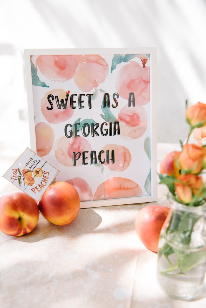 Sweet as a Peach Party Signage from a Sweet As A Peach 1st Birthday Party on Kara's Party Ideas | KarasPartyIdeas.com (19)