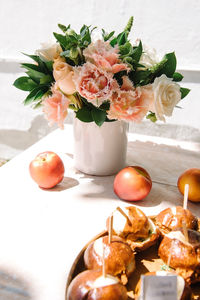 Peach blooms from a Sweet As A Peach 1st Birthday Party on Kara's Party Ideas | KarasPartyIdeas.com (17)
