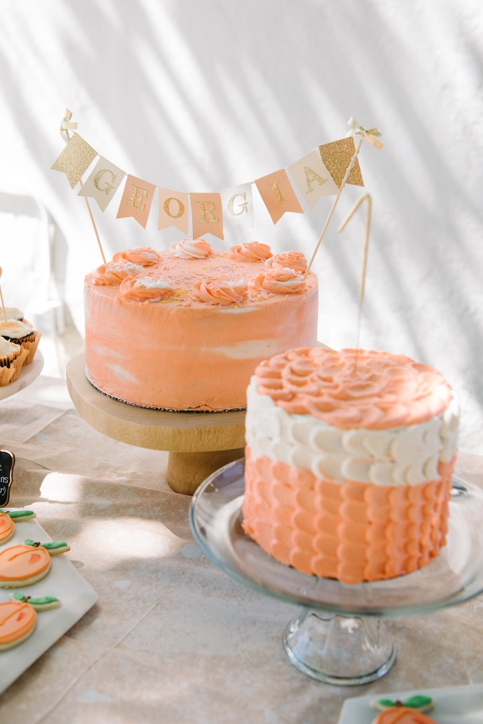 Peach cakes from a Sweet As A Peach 1st Birthday Party on Kara's Party Ideas | KarasPartyIdeas.com (16)