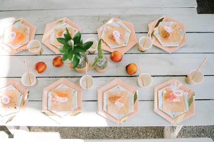 Guest tabletop from a Sweet As A Peach 1st Birthday Party on Kara's Party Ideas | KarasPartyIdeas.com (14)