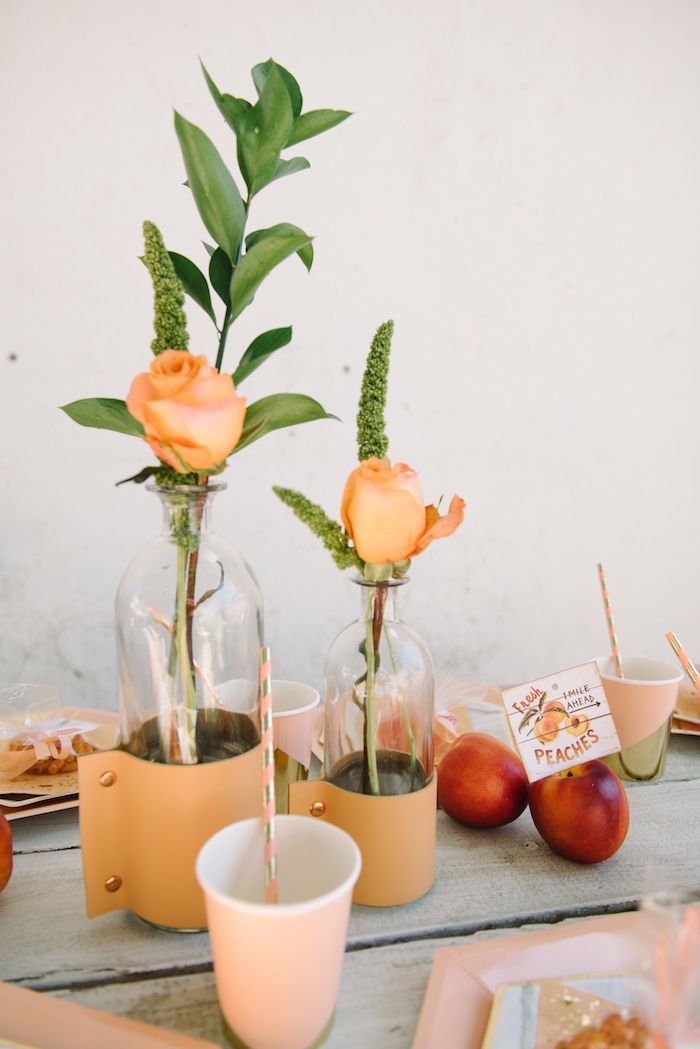 Peach rose centerpieces from a Sweet As A Peach 1st Birthday Party on Kara's Party Ideas | KarasPartyIdeas.com (13)