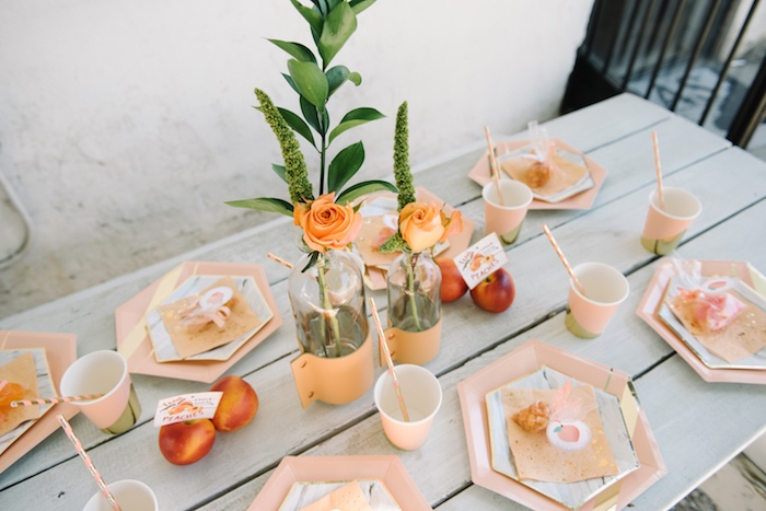 Guest tablescape from a Sweet As A Peach 1st Birthday Party on Kara's Party Ideas | KarasPartyIdeas.com (11)