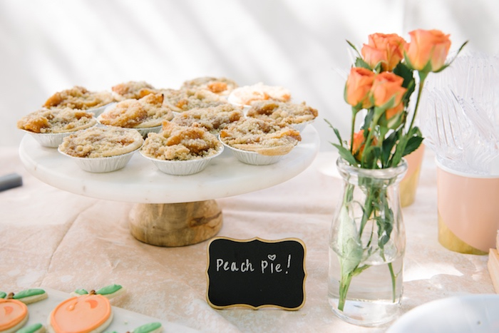 Peach pies from a Sweet As A Peach 1st Birthday Party on Kara's Party Ideas | KarasPartyIdeas.com (10)