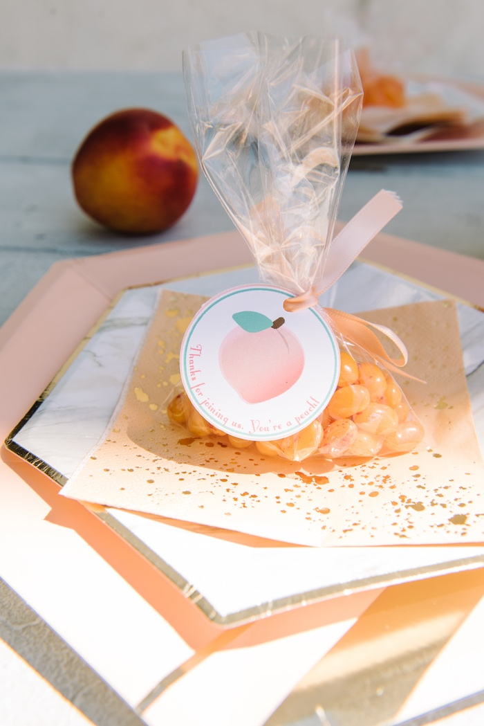 Peach party favor from a Sweet As A Peach 1st Birthday Party on Kara's Party Ideas | KarasPartyIdeas.com (28)