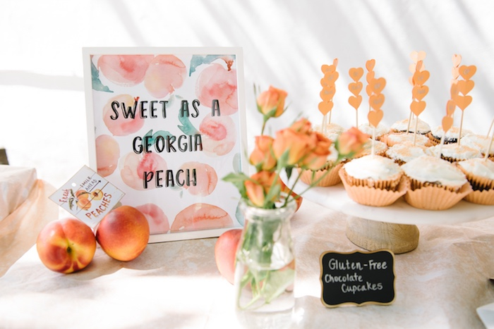Sweet table from a Sweet As A Peach 1st Birthday Party on Kara's Party Ideas | KarasPartyIdeas.com (9)