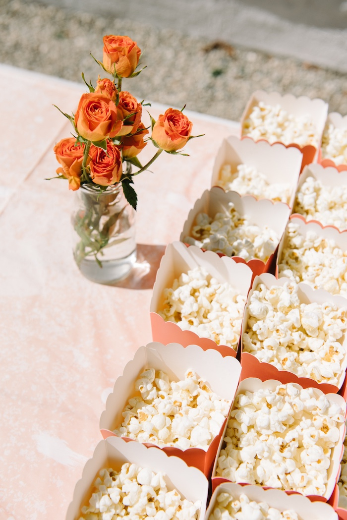 Popcorn boxes from a Sweet As A Peach 1st Birthday Party on Kara's Party Ideas | KarasPartyIdeas.com (7)