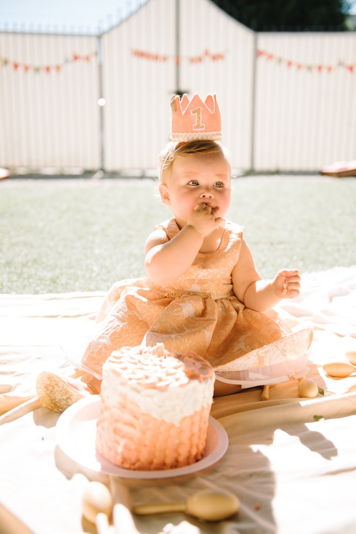 Cake smash from a Sweet As A Peach 1st Birthday Party on Kara's Party Ideas | KarasPartyIdeas.com (6)