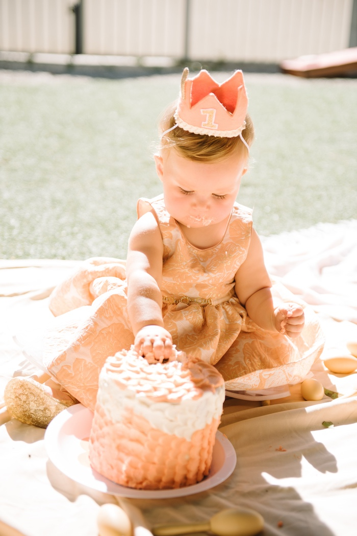 Cake smash from a Sweet As A Peach 1st Birthday Party on Kara's Party Ideas | KarasPartyIdeas.com (5)
