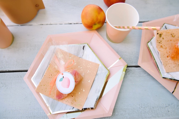 Peach partyware + place setting from a Sweet As A Peach 1st Birthday Party on Kara's Party Ideas | KarasPartyIdeas.com (27)