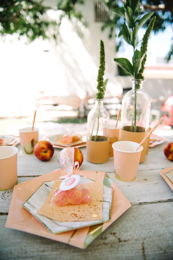 Place setting from a Sweet As A Peach 1st Birthday Party on Kara's Party Ideas | KarasPartyIdeas.com (26)