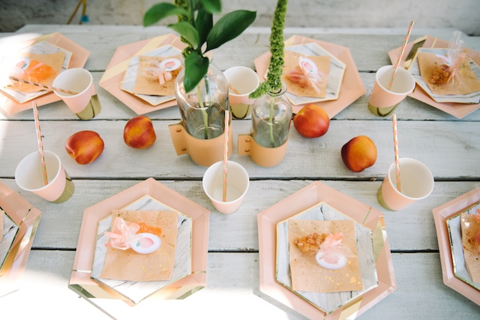 Place settings from a Sweet As A Peach 1st Birthday Party on Kara's Party Ideas | KarasPartyIdeas.com (24)