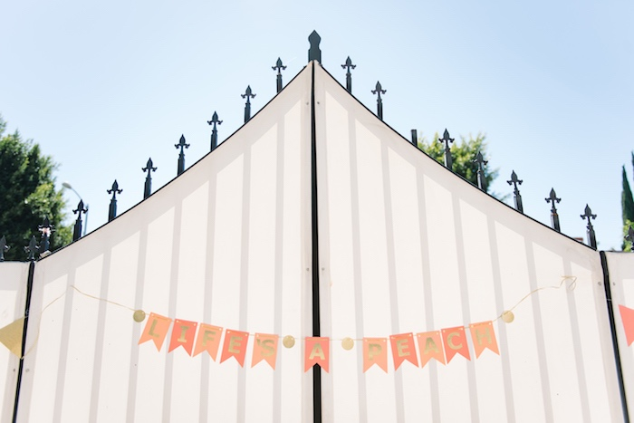 Peach banner from a Sweet As A Peach 1st Birthday Party on Kara's Party Ideas | KarasPartyIdeas.com (23)