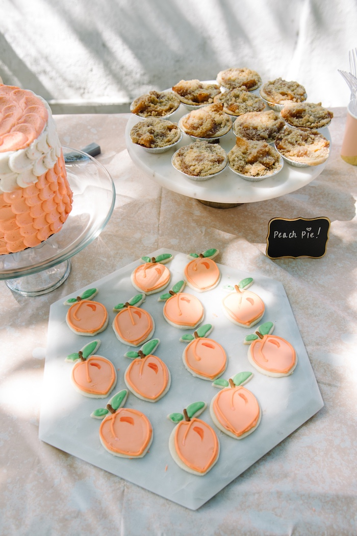 Peach sugar cookies from a Sweet As A Peach 1st Birthday Party on Kara's Party Ideas | KarasPartyIdeas.com (22)