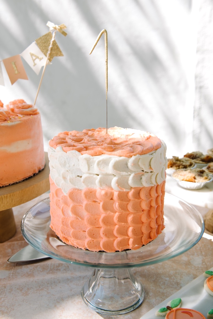 Peach petal cake from a Sweet As A Peach 1st Birthday Party on Kara's Party Ideas | KarasPartyIdeas.com (21)