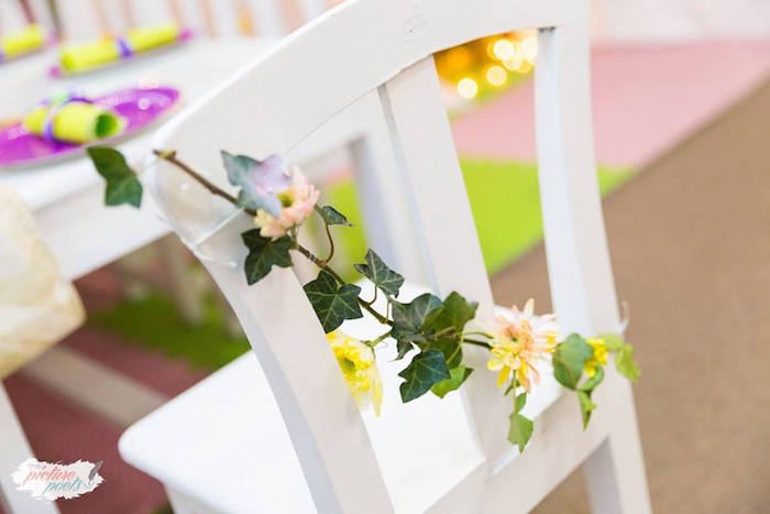 Flower & vine chair garland from a Tinkerbell Fairy Garden Birthday Party on Kara's Party Ideas | KarasPartyIdeas.com (11)