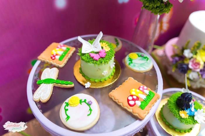 Cookies and mini cake from a Tinkerbell Fairy Garden Birthday Party on Kara's Party Ideas | KarasPartyIdeas.com (10)