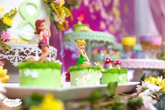 Mini Tinkerbell cakes from a Tinkerbell Fairy Garden Birthday Party on Kara's Party Ideas | KarasPartyIdeas.com (7)