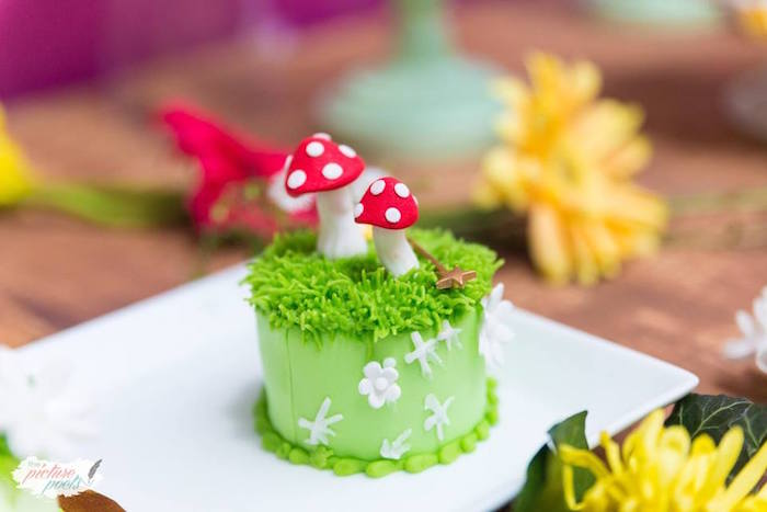 Toadstool cake from a Tinkerbell Fairy Garden Birthday Party on Kara's Party Ideas | KarasPartyIdeas.com (20)