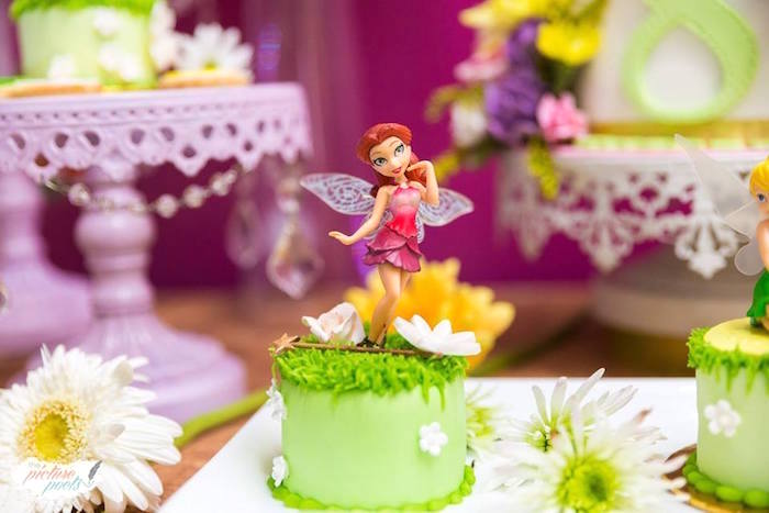 Rosetta cake from a Tinkerbell Fairy Garden Birthday Party on Kara's Party Ideas | KarasPartyIdeas.com (19)