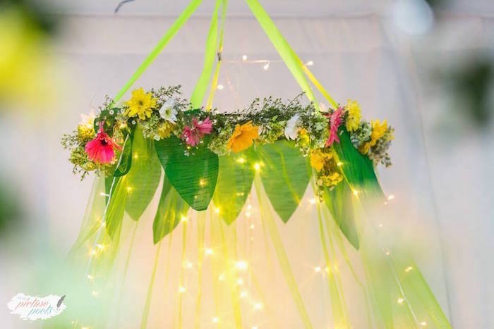 Floral Tinkerbell chandelier from a Tinkerbell Fairy Garden Birthday Party on Kara's Party Ideas | KarasPartyIdeas.com (15)