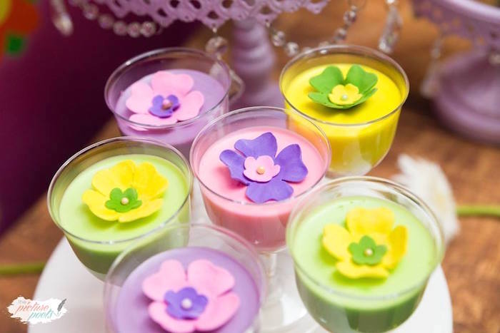 Flower-topped jello cups from a Tinkerbell Fairy Garden Birthday Party on Kara's Party Ideas | KarasPartyIdeas.com (13)