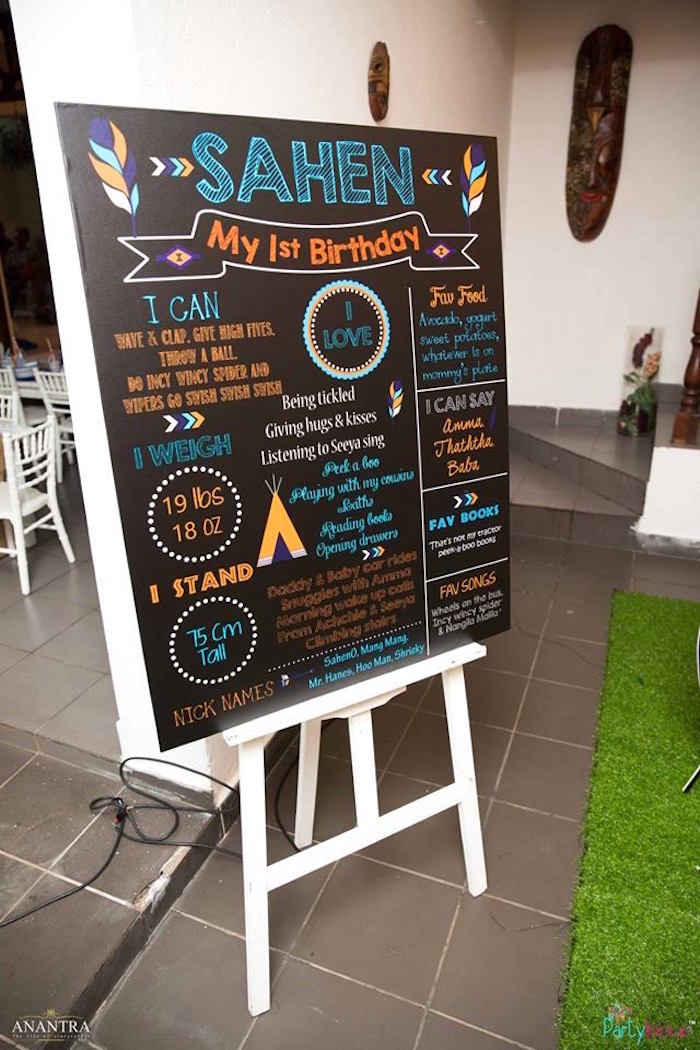 Milestone + highlight board from a Tribal Wild ONE 1st Birthday Party on Kara's Party Ideas | KarasPartyIdeas.com (29)