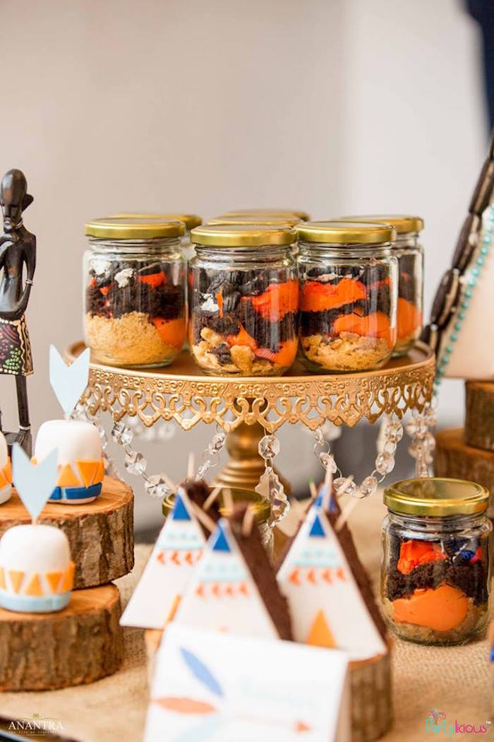 Dessert jars from a Tribal Wild ONE 1st Birthday Party on Kara's Party Ideas | KarasPartyIdeas.com (25)