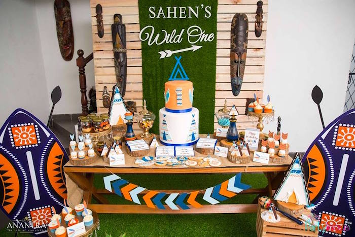 Tribal dessert table from a Tribal Wild ONE 1st Birthday Party on Kara's Party Ideas | KarasPartyIdeas.com (24)
