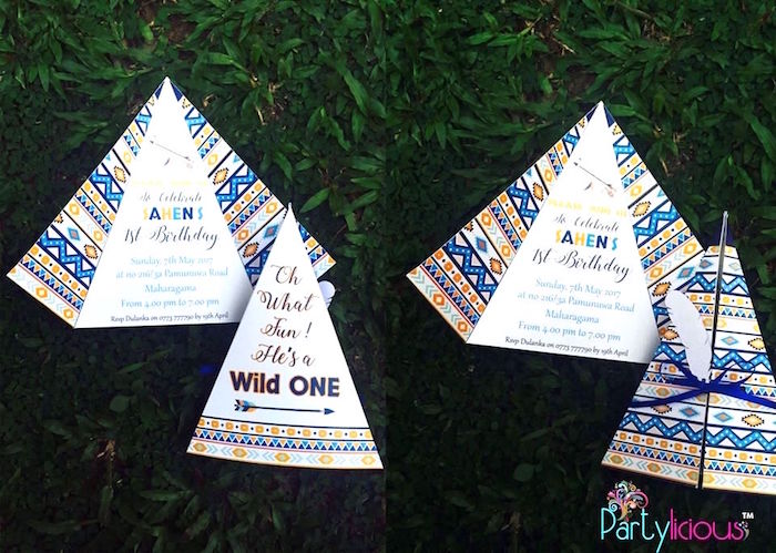 Teepee Party Invite from a Tribal Wild ONE 1st Birthday Party on Kara's Party Ideas | KarasPartyIdeas.com (22)
