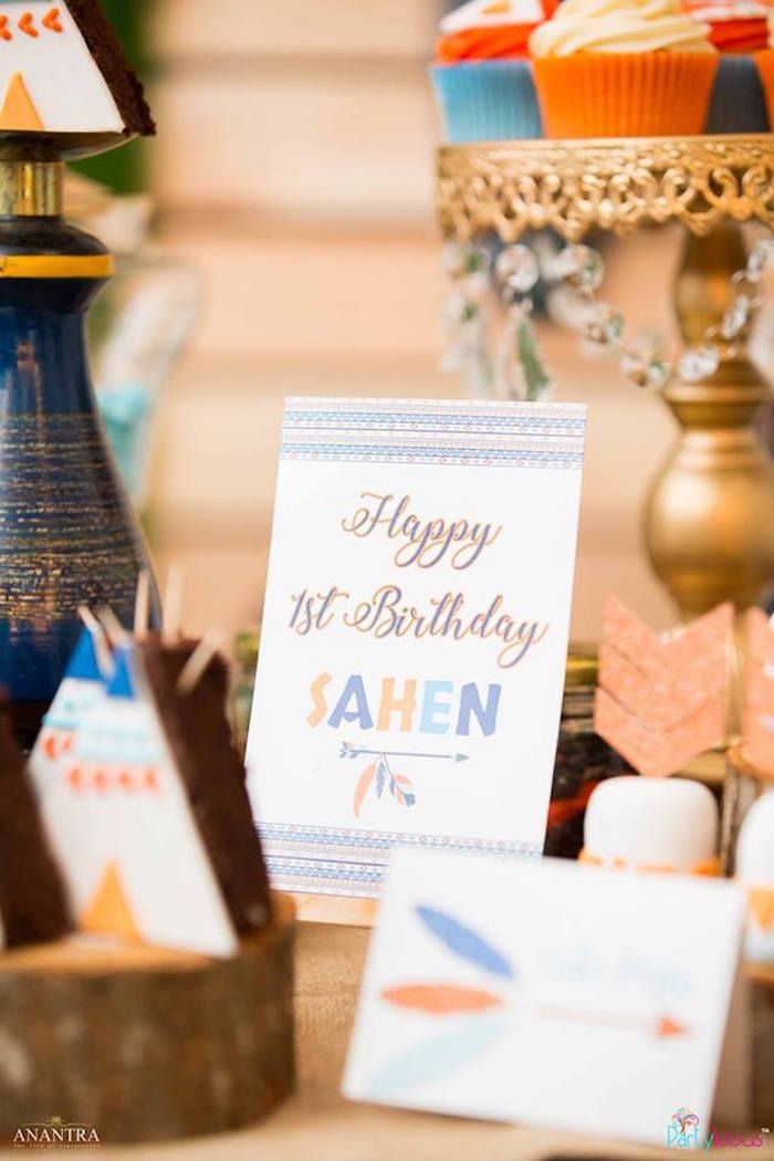 Tribal party signage from a Tribal Wild ONE 1st Birthday Party on Kara's Party Ideas | KarasPartyIdeas.com (21)