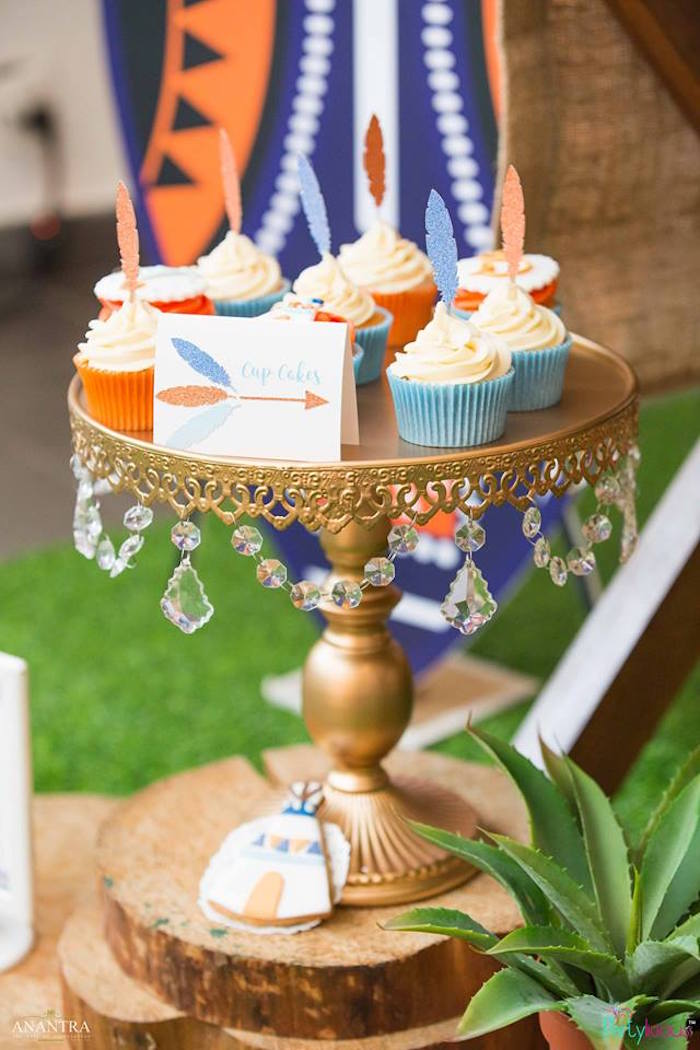 Feather-topped cupcakes from a Tribal Wild ONE 1st Birthday Party on Kara's Party Ideas | KarasPartyIdeas.com (20)