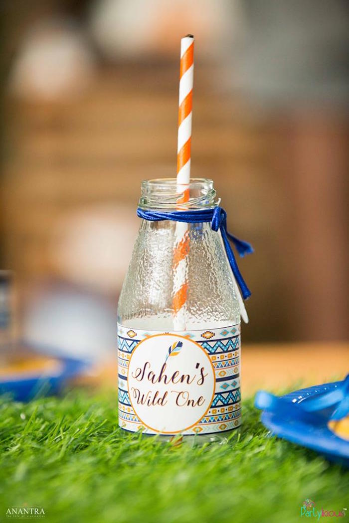Tribal drink bottle from a Tribal Wild ONE 1st Birthday Party on Kara's Party Ideas | KarasPartyIdeas.com (11)