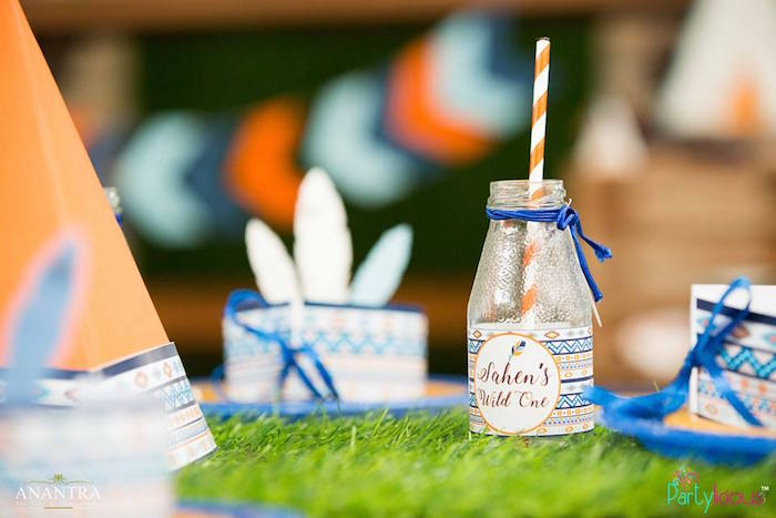 Drink bottle from a Tribal Wild ONE 1st Birthday Party on Kara's Party Ideas | KarasPartyIdeas.com (8)