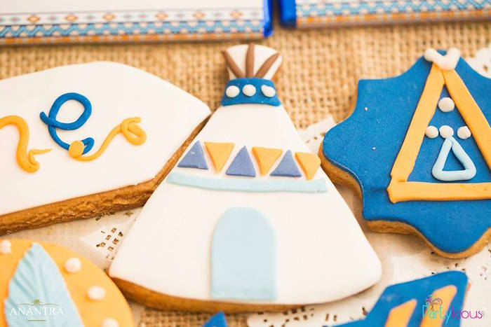 Tribal cookies from a Tribal Wild ONE 1st Birthday Party on Kara's Party Ideas | KarasPartyIdeas.com (5)